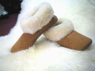 ladies shearling soft comfortable slipper made in the USA